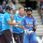 Anderson (2nd from left) and Kohli (far right) during a match between England and India